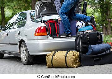 voorbereiding, voor, familie reis