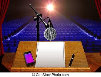 voorbereiding, voor, toneel, presentatie