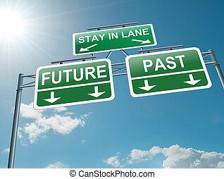 voorbij, concept., toekomst, of
