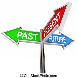 voorbij, kado, toekomst, -, 3, kleurrijke, richtingwijzer,...