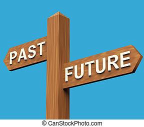 voorbij, of, toekomst, richtingen, op, een, wegwijzer