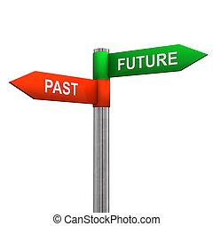 voorbij, richting, toekomst, meldingsbord