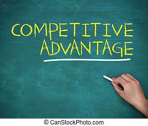 voordeel, concurrerend, hand, krijt, vasthouden, schrijvende...