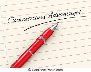 voordeel, -, concurrerend, pen, papier, 3d