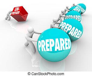 voordeel, wezen, unready, bereid, onvoorbereid, vs, gereed,...
