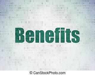 voordelen, financiën, papier, achtergrond, digitale , data, concept: