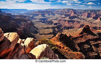 voorgrond, rotsen, cañon, voornaam, landscape, aanzicht