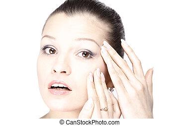 voorhoofd, gezicht, van een vrouw, haar, rimpels