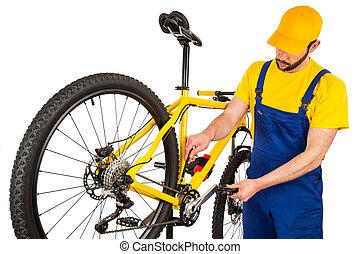 voorkant, aanpassen, fiets, werktuigkundige, derailleur