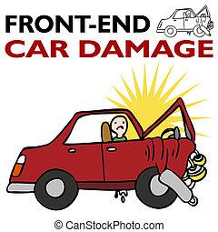 voorkant, auto, einde, beschadigen