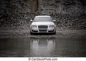 voorkant, auto, luxe, aanzicht