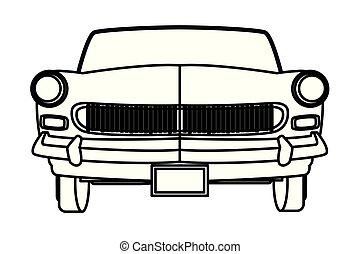 voorkant, auto, witte , black , aanzicht