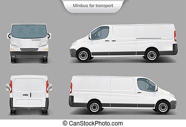 voorkant, back, minivan, witte , zijaanzicht