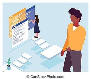 voorkant, bedrijfspaar, mensen, vergadering, scherm