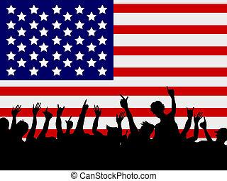voorkant, bijeenkomst, vlag, usa, mensen