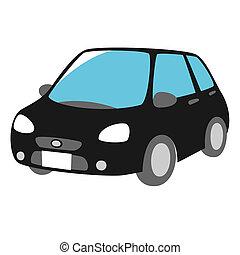 voorkant, black , auto, aanzicht