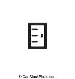 voorkant, black , lijn, deur, pictogram