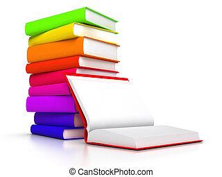 voorkant, boek, boekjes , open, stapel
