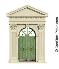 voorkant, boog, aanzicht, deur, classieke