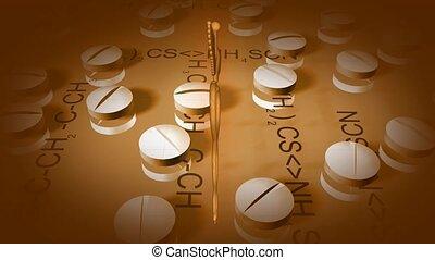 voorkant, caduceus, goud, pillen