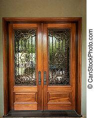 voorkant, elegantly, ontworpen, deuren