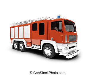 voorkant, firetruck, vrijstaand, aanzicht