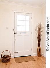 voorkant, hallway, deur