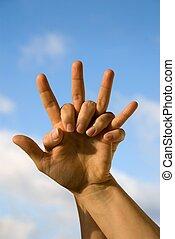 voorkant, hemel, twee handen