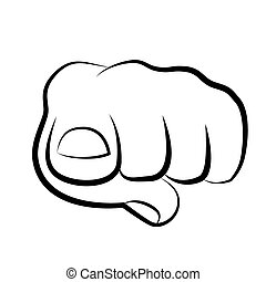 voorkant, kijker, pulken pointing, hand