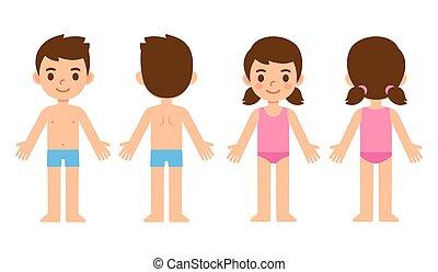 voorkant, kinderen, spotprent, back