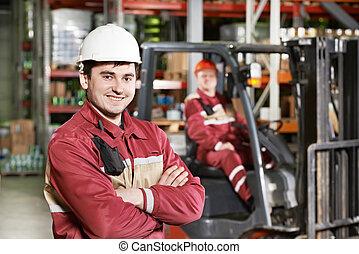 voorkant, magazijn, vorkheftruck, arbeider