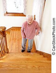 voorkant, oude vrouw, trap