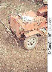 voorkant, ouderwetse , speelgoedauto