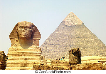 voorkant, piramide, sphinx, giza