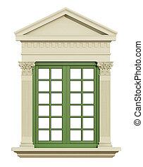 voorkant, raam overzicht, classieke