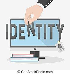 voorkant, scherm, identiteit