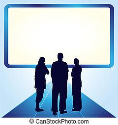 voorkant, scherm, mensen