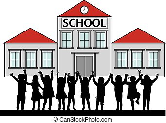 voorkant, school., kinderen