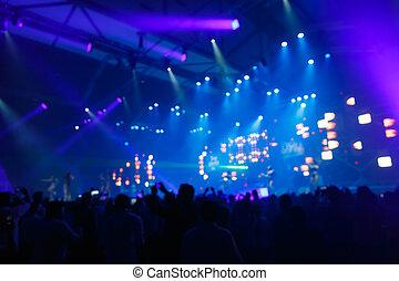 voorkant, silhouette, concert, toneel