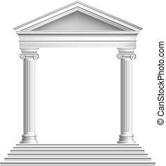voorkant, tempel, kolommen