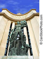voorkant, trocadero, parijs, monument