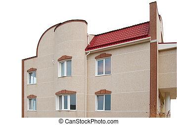 voorkant, van, een, woning, vrijstaand, op, white.