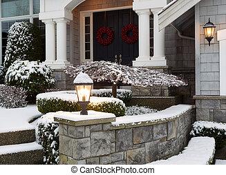 voorkant, van, thuis, gedurende, de, winter, feestdagen