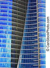 voorkant, venster, moderne, wolkenkrabber