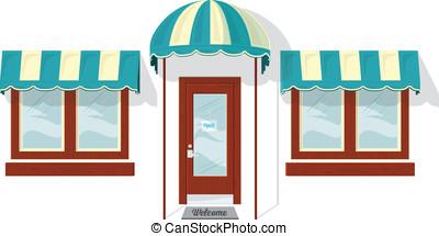 voorkant, vensters, deur, winkel