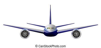voorkant, vliegtuig, straalvliegtuig, aanzicht