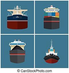 voorkant, vrachtschip, aanzicht