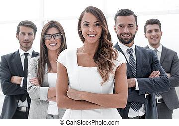 voorkant, vrouw, jonge, handel team