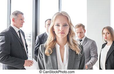 voorkant, vrouw zaak, team