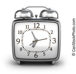 voorkant, waarschuwing, overzicht., clock., vrijstaand